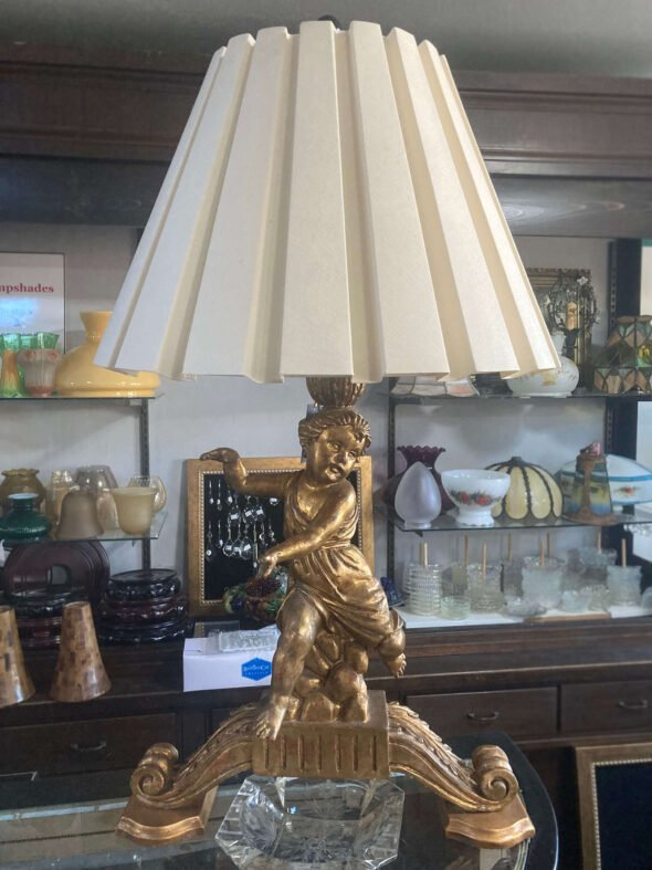 Italian Gilt Gold Cherub Lamps