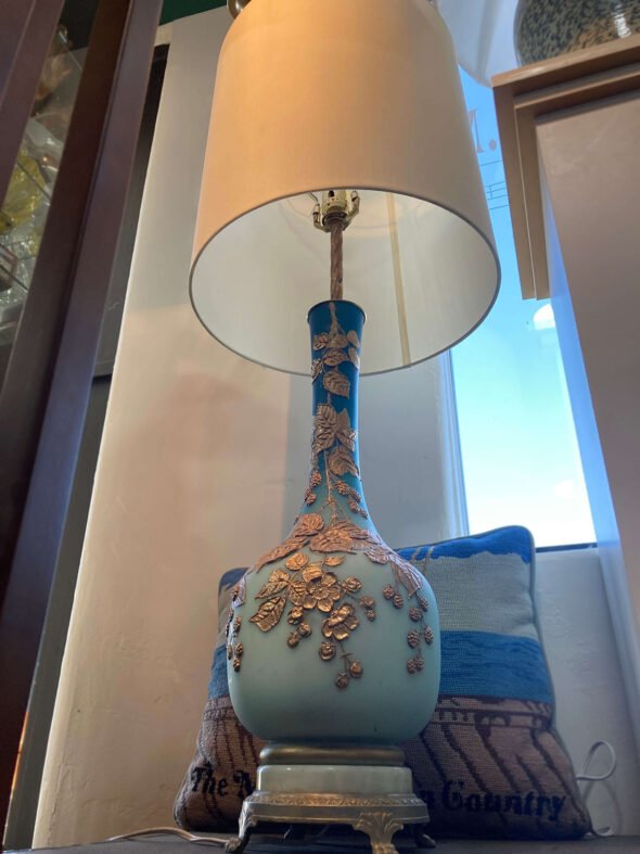 Gold and Blue Floral Lamp