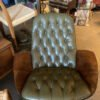 Plycraft Green Leather Chair with Ottoman