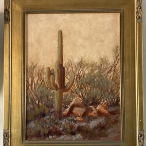 Signed Oil on Canvas Desert Scenery Painting (Artist Unknown)