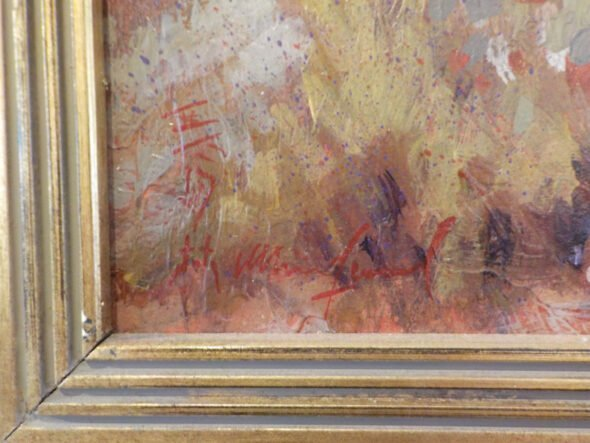Signed Oil on Canvas Desert Scenery Painting (Artist Unknown) Signature